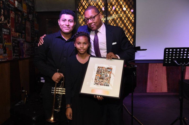 Trumpet students, Kevin Gonzalez and Elisha Gomez, with Wynton Marsalis, honored at our Harmony Program fall benefit